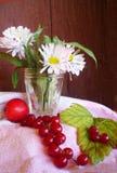 Οι άσπρος-ρόδινες μαργαρίτες σε ένα φλυτζάνι γυαλιού είναι στο κολόβωμα Στο tabl Στοκ φωτογραφία με δικαίωμα ελεύθερης χρήσης