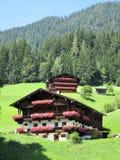 Οι Άλπεις - αυστριακά εξοχικά σπίτια με τα λουλούδια Στοκ Εικόνα