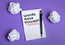 Οι λέξεις έχουν τη λέξη δύναμης Στοκ φωτογραφία με δικαίωμα ελεύθερης χρήσης