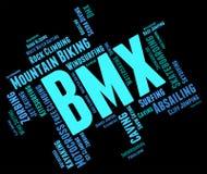 Οι λέξεις ποδηλάτων Bmx παρουσιάζουν τον ποδηλάτη και ποδήλατο κειμένων Στοκ φωτογραφίες με δικαίωμα ελεύθερης χρήσης