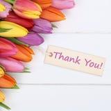 Οι λέξεις σας ευχαριστούν με τα λουλούδια τουλιπών στοκ φωτογραφίες