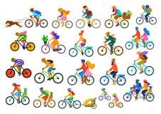 Οι έξυπνοι ζωηρόχρωμοι διαφορετικοί ενεργοί άνθρωποι που οδηγούν τη συλλογή ποδηλάτων, παιδιά οικογενειακών φίλων ζευγών γυναικών διανυσματική απεικόνιση