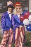Οι έφηβοι ντύνω ως θείος Σαμ, Ηνωμένες Πολιτείες Στοκ Εικόνα