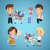 Οι αγοραστές στα χαρτικά ψωνίζουν διανυσματική απεικόνιση