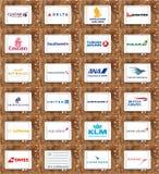 Οι αερογραμμές ή τα λογότυπα εναέριων διαδρόμων όπως το Κατάρ, δέλτα, εμιράτα, ένωσαν, KLM, Lufthansa Στοκ εικόνες με δικαίωμα ελεύθερης χρήσης