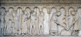 Οι αιώνιες επιπλήξεις Adam και η παραμονή, η αποβολή από τον παράδεισο, ο Adam και η παραμονή σκάβουν με σκαπάνη τη γη Στοκ Φωτογραφίες