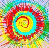 Οι ακτίνες ήλιων κύκλων χρωμάτισαν τους πολύχρωμους παφλασμούς σε ένα ιώδες υπόβαθρο διανυσματική απεικόνιση