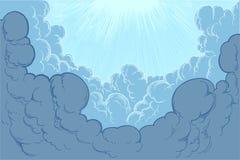 Οι ακτίνες του ήλιου φωτίζουν τα σύννεφα ζωγραφισμένη στο χέρι χάραξη ελεύθερη απεικόνιση δικαιώματος