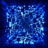 Οι ακτίνες του φωτός λάμπουν μέσω των κινούμενων κύβων διανυσματική απεικόνιση