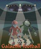 Οι αλλοδαποί παίζουν το γαλαξιακό ποδόσφαιρο στοκ φωτογραφία με δικαίωμα ελεύθερης χρήσης