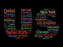 Οι αμερικανικές επιστολές με τις πόλεις ονομάζουν το σύννεφο λέξεων Στοκ Εικόνα