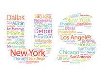 Οι αμερικανικές επιστολές με τις πόλεις ονομάζουν το σύννεφο λέξεων Στοκ εικόνες με δικαίωμα ελεύθερης χρήσης
