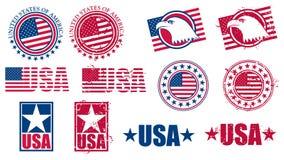 Οι αμερικανικές ΗΠΑ σημαιοστολίζουν τα γραμματόσημα Στοκ Φωτογραφία