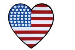 οι αμερικανικές καρδιές σημαιών ανασκόπησης απομόνωσαν το λευκό Στοκ Εικόνες