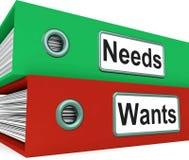 Οι ανάγκες θέλουν τους φακέλλους παρουσιάζουν την απαίτηση και επιθυμία ελεύθερη απεικόνιση δικαιώματος