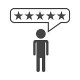 Οι αναθεωρήσεις πελατών, εκτίμηση, χρήστης ανατροφοδοτούν το διανυσματικό εικονίδιο έννοιας ελεύθερη απεικόνιση δικαιώματος