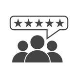 Οι αναθεωρήσεις πελατών, εκτίμηση, χρήστης ανατροφοδοτούν το διανυσματικό εικονίδιο έννοιας fla ελεύθερη απεικόνιση δικαιώματος
