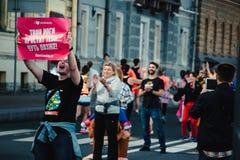 Οι ανεμιστήρες στον αθλητικό μαραθώνιο Στοκ εικόνα με δικαίωμα ελεύθερης χρήσης