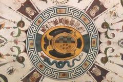 Οι ανώτατες νωπογραφίες τεμαχίζουν στο πράσινο δωμάτιο, Palazzo Vecchio, Φλωρεντία, Ιταλία Στοκ Εικόνες