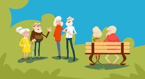 Οι ανώτεροι άνθρωποι ομαδοποιούν τους φίλους σταθμεύουν υπαίθρια την επικοινωνία συνεδρίασης διανυσματική απεικόνιση