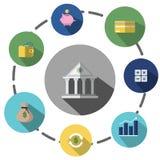Οι απεικονίσεις είναι εικονίδια ή σύμβολα Περίπου η οικονομική επιχείρηση, αποταμίευση, επένδυση μπορεί να χρησιμοποιηθεί στα διά Στοκ Εικόνες