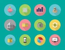 Οι απεικονίσεις είναι εικονίδια ή σύμβολα Περίπου η οικονομική επιχείρηση, αποταμίευση, επένδυση μπορεί να χρησιμοποιηθεί στα διά Στοκ Φωτογραφίες