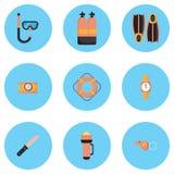 Οι απεικονίσεις είναι εικονίδια εξοπλισμού κατάδυσης Στοκ φωτογραφία με δικαίωμα ελεύθερης χρήσης