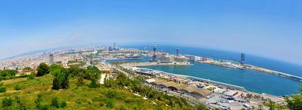 Οι αποβάθρες της Βαρκελώνης πανοραμικές Στοκ εικόνα με δικαίωμα ελεύθερης χρήσης