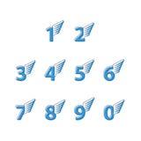 Οι αριθμοί λεπταίνουν τις γραμμές, σύνολο εικονιδίων με τα φτερά Στοκ εικόνα με δικαίωμα ελεύθερης χρήσης