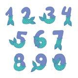 Οι αριθμοί με τη γοργόνα παρακολουθούν το όμορφο διανυσματικό σύνολο Στοκ φωτογραφία με δικαίωμα ελεύθερης χρήσης