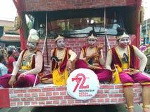 οι αριθμοί μόδας punakawan στο γεγονός καρναβαλιού τιμούν την μνήμη της ημέρας της ανεξαρτησίας της Ινδονησίας το 2017 Στοκ Φωτογραφίες