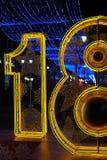 Οι αριθμοί νέου είναι ένα και οκτώ Στοκ φωτογραφία με δικαίωμα ελεύθερης χρήσης
