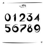 Οι αριθμοί που δημιουργούνται σύνολο με μια βούρτσα παραδίδουν κοντά ένα διανυσματικό διανυσματική απεικόνιση