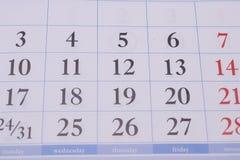Οι αριθμοί στο ημερολόγιο Στοκ Φωτογραφίες