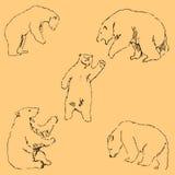 Οι αρκούδες Σκίτσο με το χέρι Σχέδιο μολυβιών με το χέρι μπλε διάνυσμα ουρανού ουράνιων τόξων εικόνας σύννεφων Η εικόνα είναι λεπ απεικόνιση αποθεμάτων