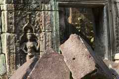 Οι αρχαίες καταστροφές του ναού Preah Khan με τη γλυπτική πετρών, Siem συγκεντρώνουν, Καμπότζη Στοκ φωτογραφία με δικαίωμα ελεύθερης χρήσης