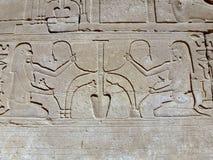 Οι αρχαίοι Αιγύπτιοι στον τοίχο του ναού Karnak Στοκ εικόνες με δικαίωμα ελεύθερης χρήσης