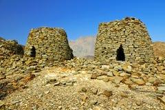 Οι αρχαίοι τάφοι κυψελών σε Jabal Misht δυτικό στοκ εικόνες
