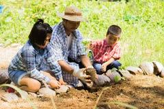Οι ασιατικοί αγρότες διδάσκουν τα παιδιά τους για να φροντίσουν για τις εγκαταστάσεις με την υπομονή και την προσπάθεια Στοκ Φωτογραφία