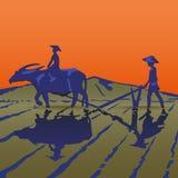 Οι ασιατικοί αγρότες εργάζονται Στοκ Εικόνες