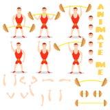 Οι ασκήσεις ατόμων κινούμενων σχεδίων barbell κάθονται οκλαδόν, deadlift, υπερυψωμένος Τύπος Στοκ Φωτογραφίες