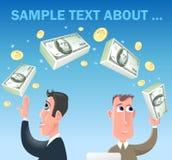 Οι αστείοι επιχειρηματίες κινούμενων σχεδίων κάνουν τη μεταφορά χρημάτων απεικόνιση αποθεμάτων