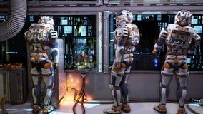 Οι αστροναύτες χαράζουν έναν αλλοδαπό στο διαστημόπλοιο τους Έξοχη ρεαλιστική cinematic loopable ζωτικότητα διανυσματική απεικόνιση