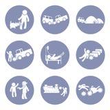 Οι ασφάλειες δακτυλογραφούν και το καθορισμένο εικονόγραμμα εικονιδίων ατυχήματος για το υπόβαθρο επιχειρησιακής έννοιας παρουσία Στοκ φωτογραφία με δικαίωμα ελεύθερης χρήσης