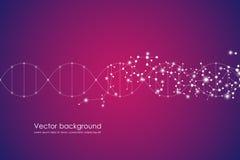 Οι αφηρημένες γενετικών και χημικών ενώσεις υποβάθρου μορίων, σύνδεσαν τις γραμμές με τα σημεία, ιατρικός, τεχνολογικός και Στοκ Φωτογραφίες