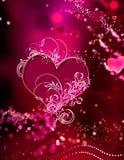 οι αφηρημένες καρδιές οδοντώνουν τα κόκκινα σπινθηρίσματα που ζαλίζουν το στρόβιλο Στοκ Εικόνες