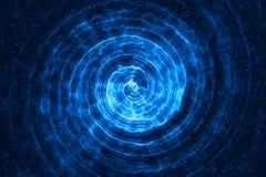 Οι αφηρημένες τρισδιάστατες δίνοντας ομόκεντρες γραμμές ψηφιακές ακτινοβολούν BL σπινθήρων Στοκ Φωτογραφία