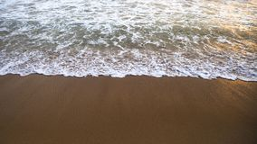 Οι αφροί κυμάτων στην αμμώδη παραλία στο ηλιοβασίλεμα στοκ εικόνες