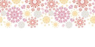 Οι λαϊκοί floral κύκλοι αφαιρούν οριζόντιο άνευ ραφής Στοκ Εικόνες