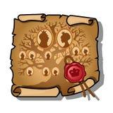 Οι βασιλικοί πρόγονοι εξ αίματος απεικονίζονται σε ένα φύλλο του εγγράφου και σφραγίζονται με το κερί Εκλεκτής ποιότητας έγγραφο  διανυσματική απεικόνιση